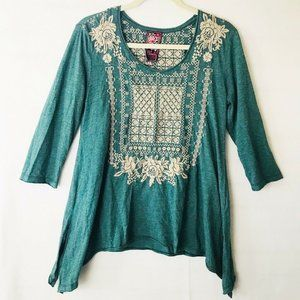 Johnny Was Embroidered Blue Boho Knit Top, M